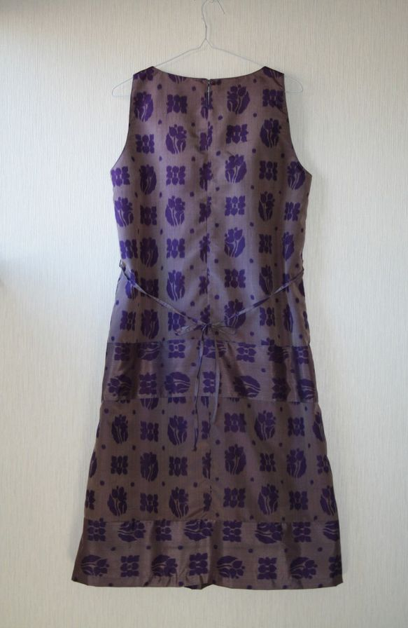絹 銘仙 花格子 紫 ノースリーブワンピース Lサイズ