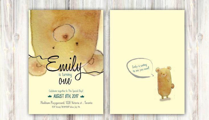 Teddy bear Birthday Invitation - Any age - Watercolor Folk Tale - Printable - Back optional #BirthdayInvitation #BoyAndGirl #BabyBirthday #ForestAnimals #AnimalBirthday #PinkAnimal #VintageForest #TeddyBearBirthday #BearInvitation