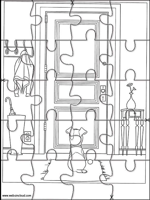 Das geheime Leben der Haustiere 37 Druckbare Puzzles zum Ausschneiden für Kinder   – Printable jigsaw puzzles to cut out for kids