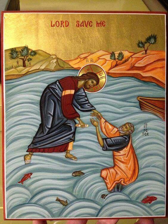 Jesus and Peter walking on water   Orthodox Christian Art ...