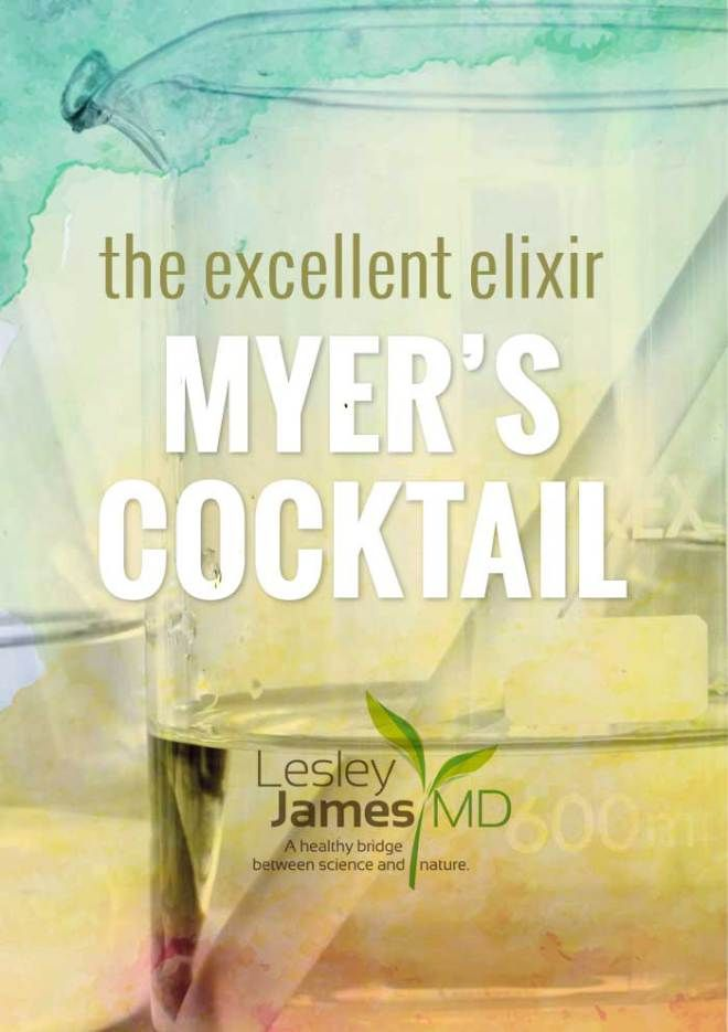 The cocktail in question is the brainchild of the late Dr. John Myers, a Baltimore physician who pioneered the use of intravenous nutrient mixtures more than 50 years ago to treat a wide range of ailments, including migraine headaches, fibromyalgia, chronic fatigue, chronic sinusitis, seasonal allergies, acute upper respiratory infections, asthma, muscle spasms, chronic depression/anxiety and more. This treatment, known formally as Intravenous Micronutrient Therapy, is commonly called Myers'…
