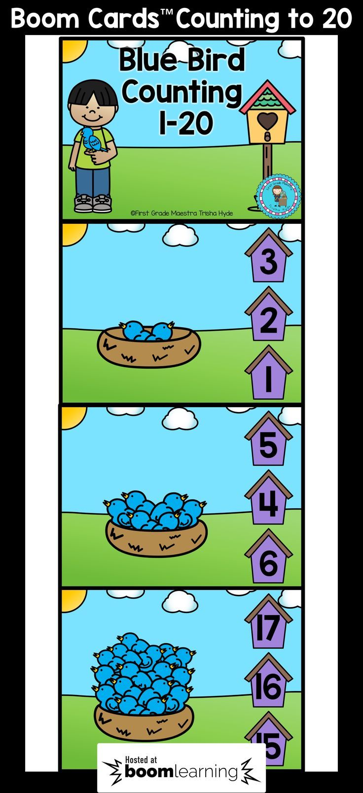 These Counting to 20 BOOM cards are the perfect NO PREP Digital Task Cards. Students will demonstrate their understanding of counting by counting the blue birds and clicking the number.  CLICK VISIT to see more about Boom Cards and to see a sample.