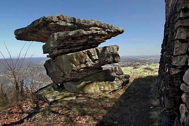 Balanced Rocks in Point Park, High Above Chattanooga and the Tennessee River, Site of One of the Biggest Battles of the Civil War