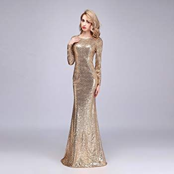 743b31d83 Honey Qiao Rose Gold Modest Bridesmaid Dresses Long High Back Prom Party  Gown at Amazon Women's