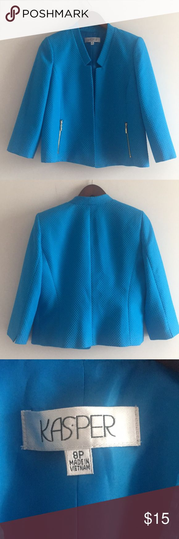 Bright Collarless Blazer Perfect petite blazer to brighten your day! Excellent condition! 100 percent polyester. Dry Clean Only. Priced to sell Kasper Jackets & Coats Blazers
