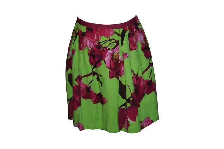 Anthropologie Knitted Dove Skirt Small S Lime Green Fuchsia Pink Floral Full #KnittedDove #FullSkirt