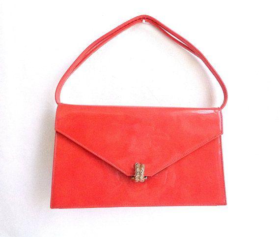 Coblentz Originals Orange Patent Leather Vintage Box Handbag Double Top Handle Mod 1960 S Purse