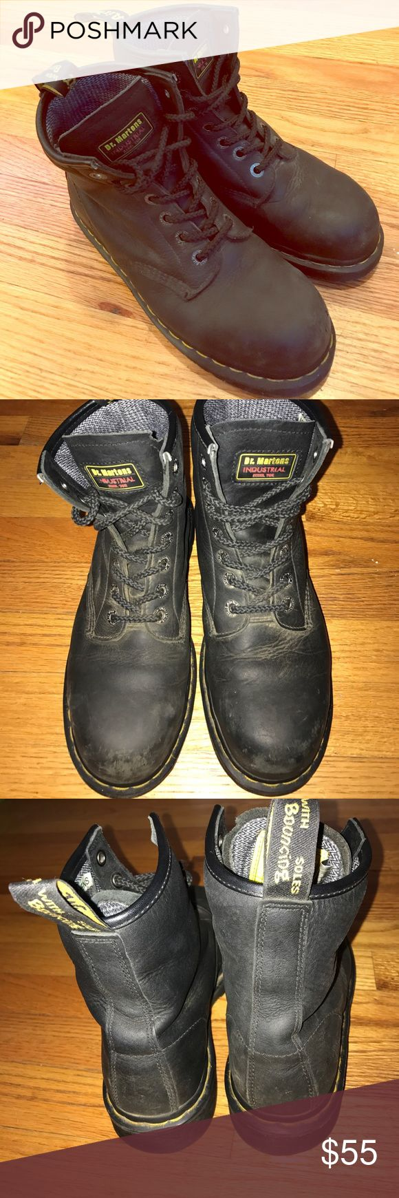 Dr Doc Martens Air Wair Industrial Steel Toe Boot Dr Doc Martens Air Wair DM's Industrial Steel Toe Black Ankle Boots Mens US 9 M. Normal wear and tear but honestly amazing quality, soles look brand new! A little tear on right boots tongue shown in picture. Dr. Martens Shoes Boots
