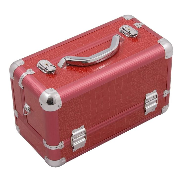 JUSTCASE 3-tiers Extendable Trays Professional Cosmetic Makeup Train Case (Red Crocodile)