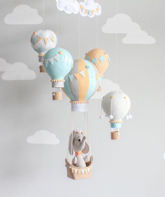l phant mobile ballons air chaud mobile pour b b. Black Bedroom Furniture Sets. Home Design Ideas