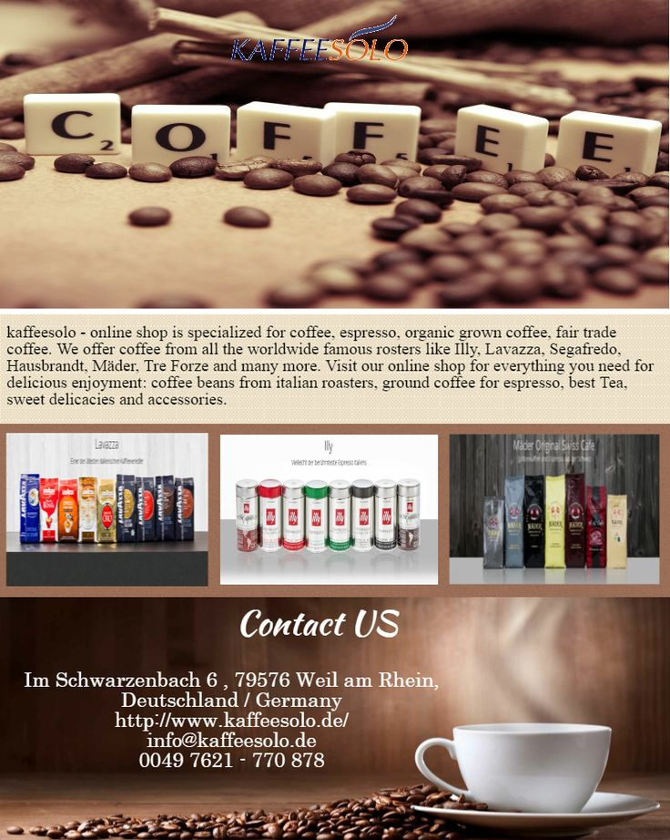 kaffeesolo - online shop is specialized for coffee, espresso, organic grown coffee, fair trade coffee. We offer coffee from all the worldwide famous rosters like Illy, Lavazza, Segafredo, Hausbrandt, Mäder, Tre Forze and many more. Visit our online shop for everything you need for delicious enjoyment: coffee beans from italian roasters, ground coffee for espresso, best Tea, sweet delicacies and accessories. http://www.kaffeesolo.de/hausbrandt-c-38.html