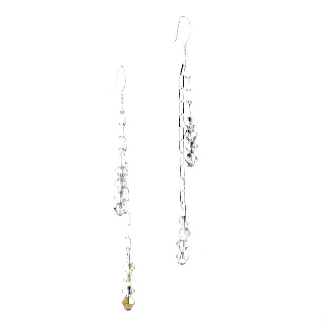 EARLY MORNING SKY  Beautiful Bicone Swarovski Crystals in Black Diamond and Light Topaz tones elegantly hung on a sterling silver small square chain. These earrings have a beautiful movement and are light as a feather. *Custom Orders Available* CA $24.95 http://pursuademe.com/shop/?id=52