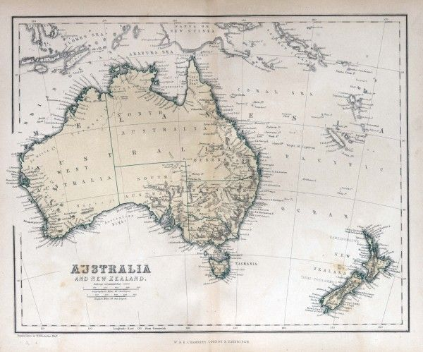 Old map of Australia & New Zealand, 1870