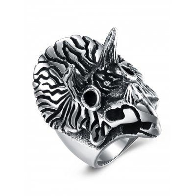 Just US$6.36 + free shipping, buy Vintage Triceratops Pattern Carving Titanium Steel Ring online shopping at GearBest.com.