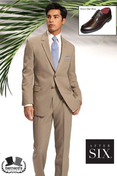 -the Catalina 2 button tan #suit  www.bernardsformalwear.com