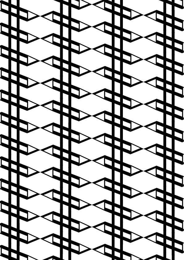 "DTl Nobel, Sjoerd de Roos & Dick Dooijes, 1929, pattern 2 (bn), ""lineare"", .Ho scelto un patter che si sviluppa in verticale ed obliquo per sottolineare l'anadamento delle linee nel font."