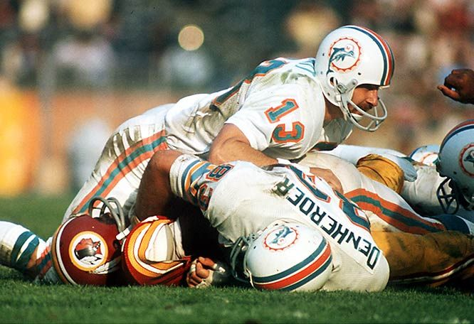 Super Bowl VII - January 14, 1973 @ Memorial Coliseum, Los Angeles, CA.  Miami Dolphins 14,   Washington Redskins 7.  MVP - Jake Scott, Safety, Miami.
