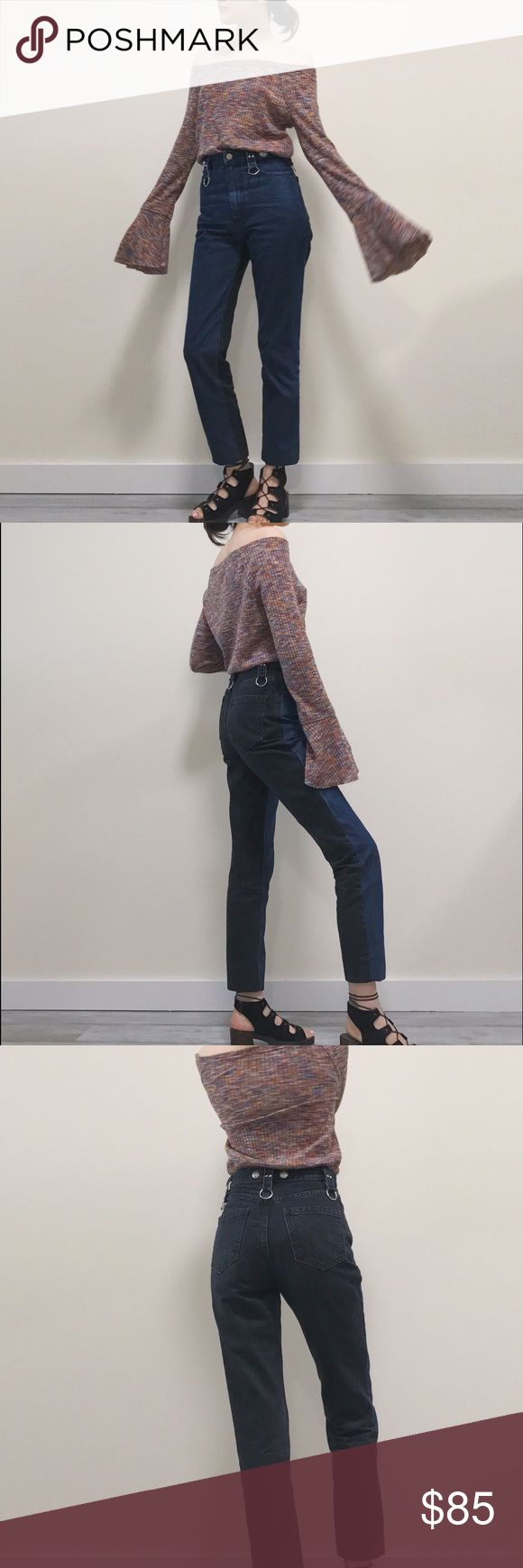"""Rachel Comey 2 colors jeans with hardware details Very stylish. Front is blue, back is black. Beautiful hardwares on the waistband. High waisted. Size 0. Model is 26"""" waist, 34.5 hip. Length (measures from the side)is about 40.5"""". Rachel Comey Jeans Straight Leg"""