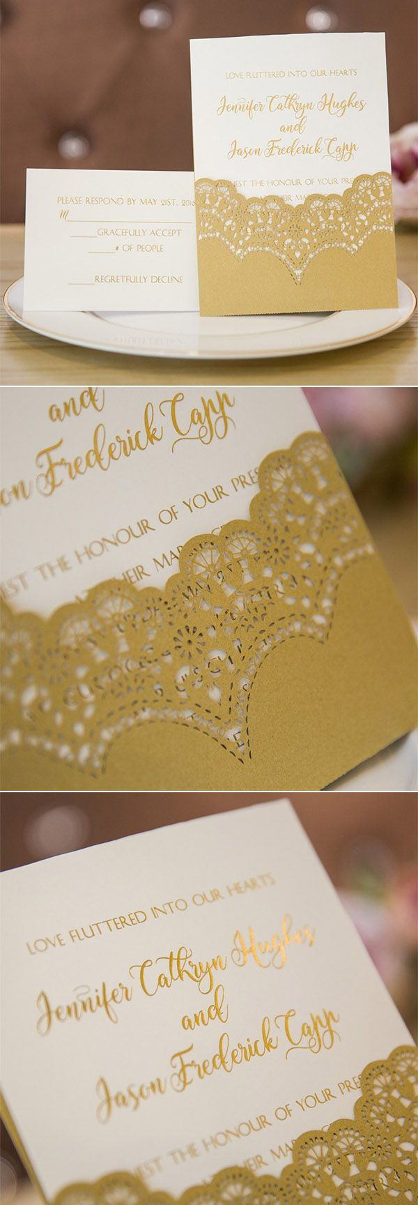 diamond wedding invitations%0A Luxury Gold FoilStamped Lace Laser Cut Wedding Invites SWWS