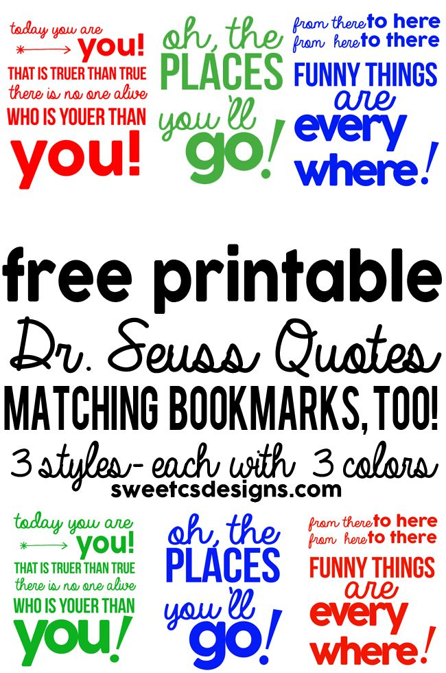 Ideas Quotes: Free Printable Dr Seuss Bookmarks