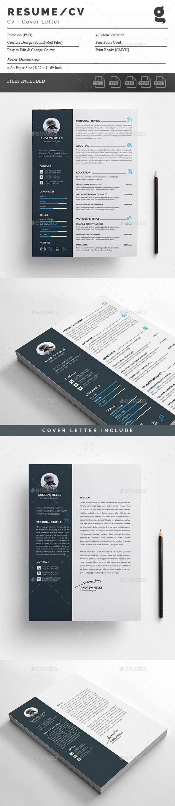 #Resume - #Resumes #Stationery Download here: https://graphicriver.net/item/resume/18847957?ref=alena994