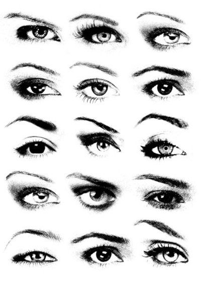I like this as a good illustration of the variety of A) eye shapes, B) brow shapes, C) lid types - and what looks good for them all.
