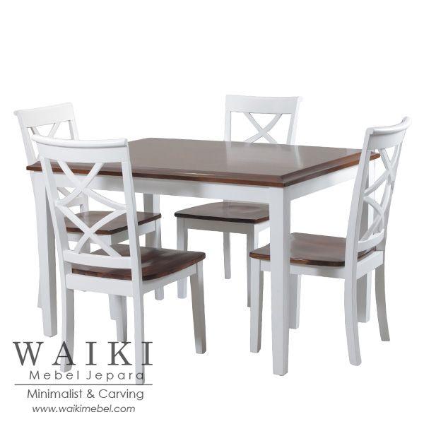 Meja Makan Silang Shabby 4 Kursi Warna Putih Duco Natural asli Jepara berkualitas ekspor. Produsen meja makan model minimalis warna putih shabby chic.