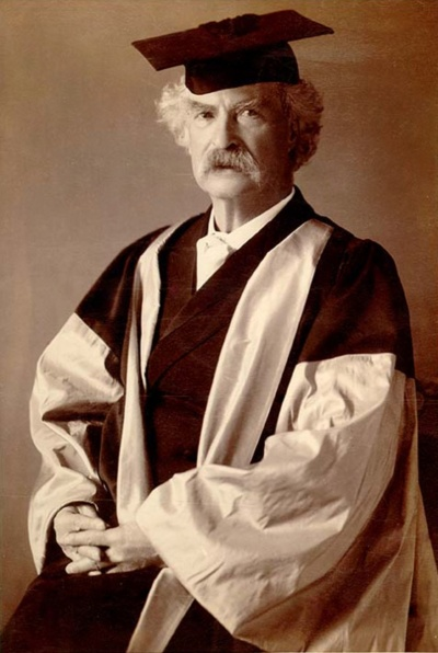 Mark Twain (pen-name of Samuel Clemens) receiving an honorary Doctor of Literature degree from Oxford University, 1907