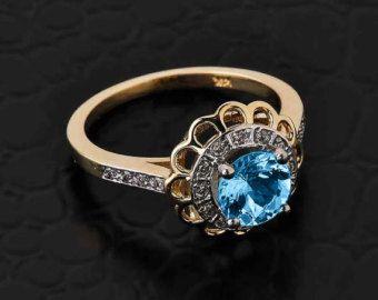 Bague topaze bleue or blanc diamant topaze par CaliRoseJewelry