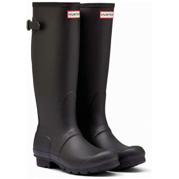 Hunter Black Womens Original Back Adjustable Rain Boots - Women's ($160) ❤ liked on Polyvore featuring shoes, boots, black, black wellington boots, wellies boots, black buckle boots, kohl boots and adjustable boots