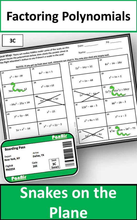 Factoring Polynomials Activity & Game Algebra lessons