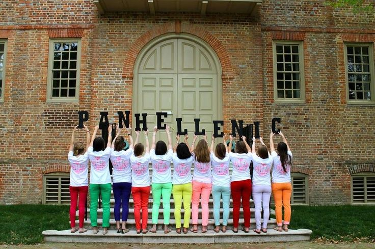 Panhellenic Council in front of the oldest academic building in the USA at the college that founded the first Greek organization. TSM.