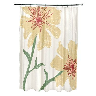 e by design Floral Shower Curtain Color: