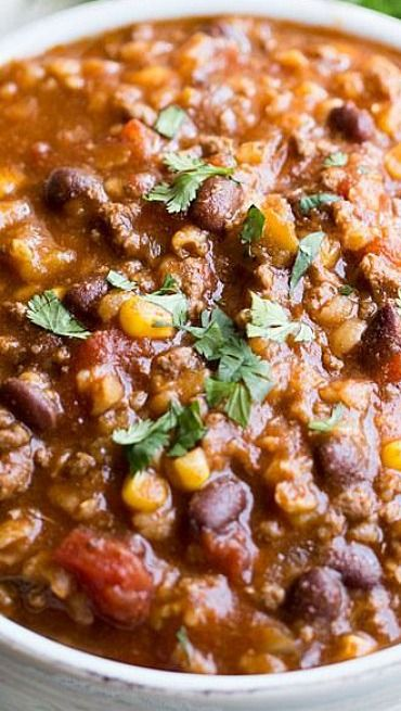 Slow Cooker Tex Mex Soup Recipe ~ thick and hearty!