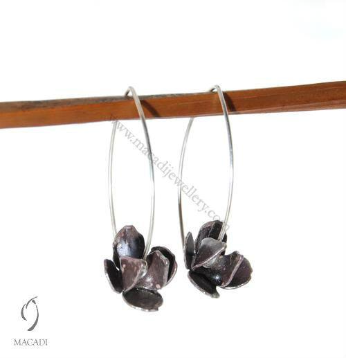 Oxidized Lotus Earrings