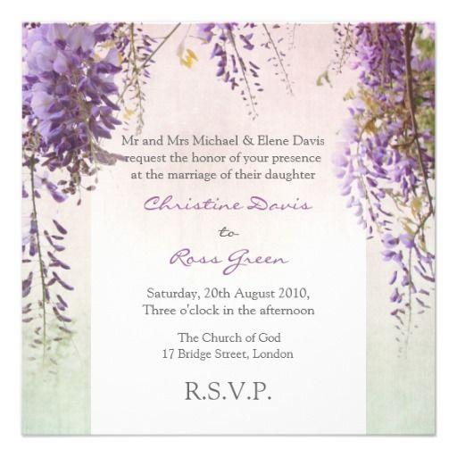 Violet wisteria personalized wedding invitation