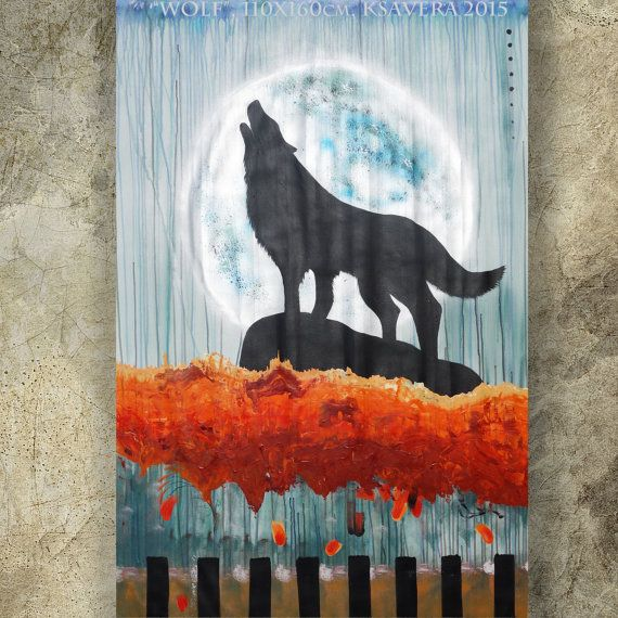 howling wolf  Large painting  A lone wolf howling at by   KsaveraART  #painting #paintings #art #moon #wolf #decor #artsale #gallery #shopping
