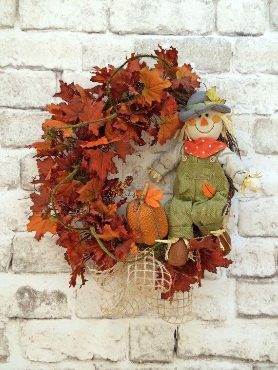 Scarecrow Wreath, Fall Wreath for Door, Front Door Wreath, Fall Decor, Autumn Wreath, Thanksgiving Wreath, Silk Wreath, Fall Grapevine Wreath, Orange Burlap Pumpkin, Fall Autumn Leaf Wreath, by Adorabella Wreaths!