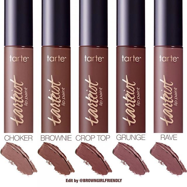 Well hi there!  Look what I found on Tarte.com ... New @tartecosmetics Naughty Nudes #Tarteist Creamy Matte Lip Paints in 5 new brown & nude shades. Can't wait to see these on brown skin  #browngirlfriendlyswatches . . Choker - warm brown Brownie - brown Crop Top - mauve brown Grunge - dark brown (this website swatch looks like Rave) Rave - greige . . I'm loving all these yummy brown lippies that are out right now! What do you think of these?