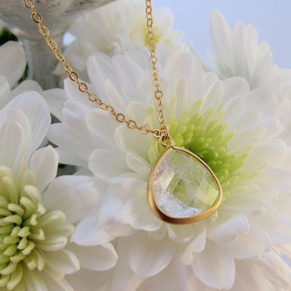 Clear Crystal Quartz Teardrop Faceted Semi Presious Stone Pendant Gold Chain Necklace - Perfect to layer!
