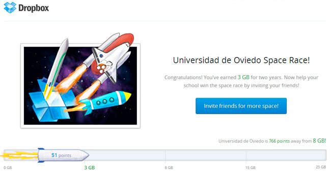 Dropbox ofrece hasta 25Gb de almacenamiento extra gratuito a estudiantes universitarios http://www.genbeta.com/p/72156