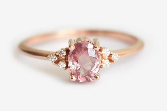 Peach Sapphire Rose Gold Engagement Ring        #engagement #engagementringscana…