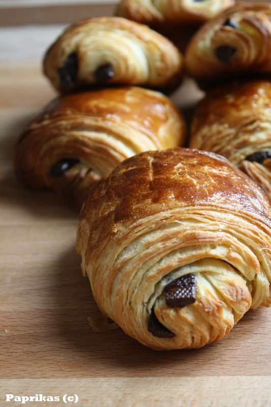PETITS PAINS AU CHOCOLAT - Paprikas (As an au-pair in Paris, I'd walk the kids from the bus stop and we then we'd stop at a pastry shop for a pain au chocolat.  What a wonderful afternoon treat.)