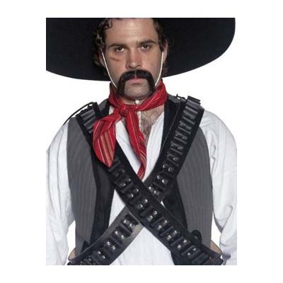 Two black and silver bandolier bullet belts. Can be worn singly or criss-crossed as per the image shown. Hat and tash not inc
