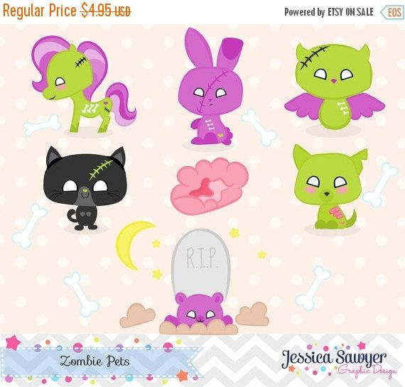 80% OFF  INSTANT DOWNLOAD zombie clipart or by JessicaSawyerDesign