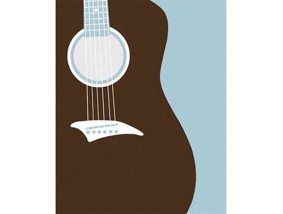 GUITAR ART guitar nursery decor 13 X 19 modern art by nevedobson, $44.00