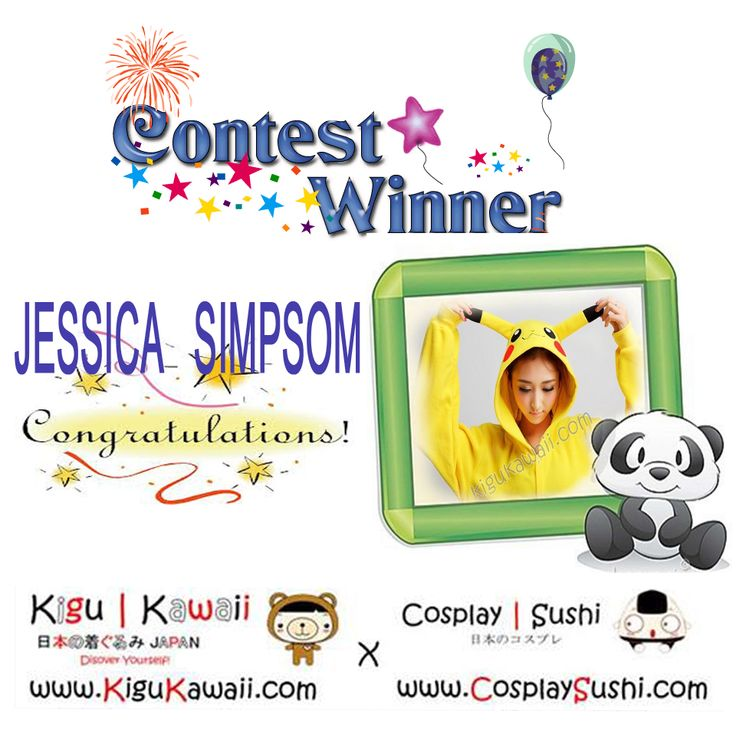 OUR KIGURUMI GIVEAWAY WINNER IS HERE! \ (•◡•) /   Congratulations Jessica Simpsom for winning a Kigu Kawaii kigurumi set! The winner was picked randomly from the number of shares from both facebook pages.   Kindly email us @ service@kigukawaii.com and send your complete name, mailing address and contact details!   Wait for the next kigurumi giveaway next month!   www.kigukawaii.com Sharing the Cuteness Inside of You (▰˘◡˘▰) www.cosplaysushi.com Supporting Cosplayers World Wide!