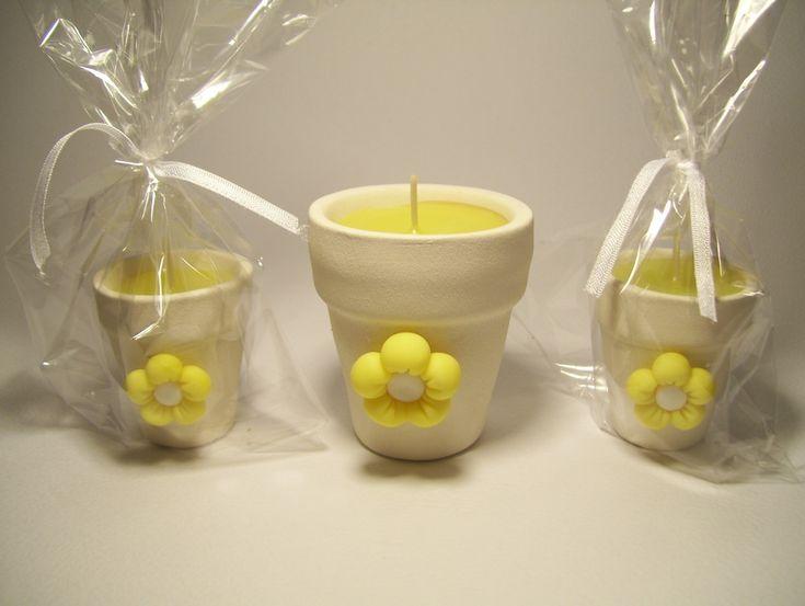 Souvenirs de comunión originales maceta con aplique de flor