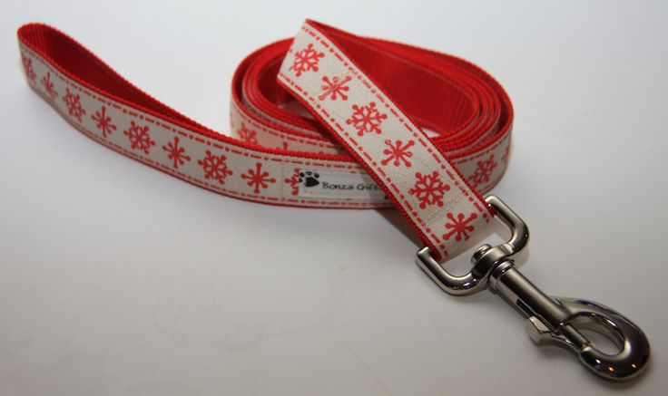 """Red Snowflakes 1"""" Dog Leash. $18.00. Find Bonzai Gifts on facebook for more!"""