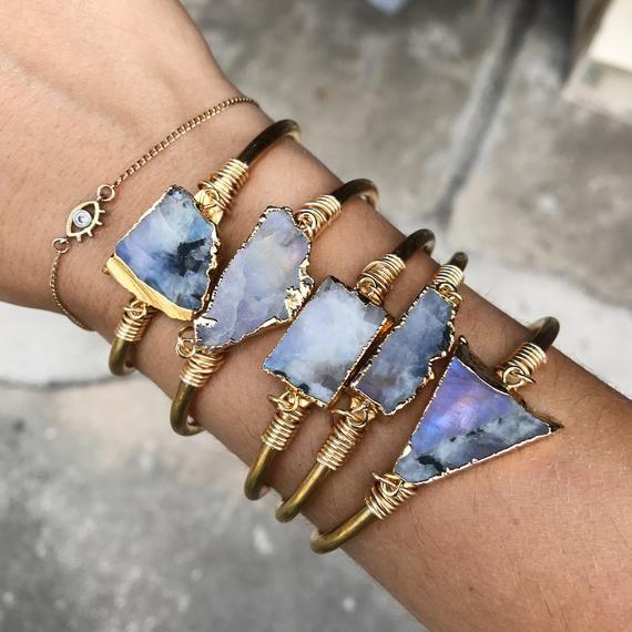 Gemstone Bangle Bracelet Moonstone Bangle Stackable Bangles Cushion Bangles Layer bangles Stacker Bangle Gold Bracelets